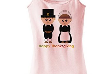 Cute Pilgrim Couple Happy Thanksgiving Spaghetti…